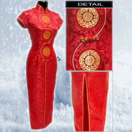 Wholesale Liturgy cheongsam red tang suit cheongsam chinese style dress long Qipao vintage cheongsam dress