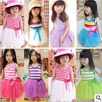 Wholesale Lace Princess Kids Dress Korean New Stripe Tulle Girls Tutu Dresses Summer Fashion Children Party Sundress Girl Clothes