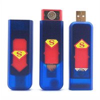 Wholesale Electronic Rechargeable USB Flameless Cigarette Lighter Mini Green Windproof Flameless Lighter Blue