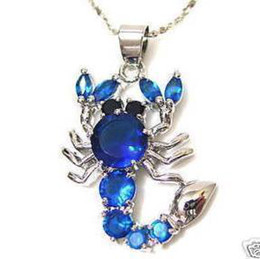 Wholesale cheap stunning blue Crystal Silver Scorpion necklace Pendant+Free Chain