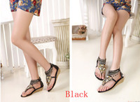 Wholesale Bohemian beaded clip toe Roman slope with flip sandals ethnic style low top shoes