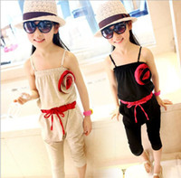Wholesale Children s Girl s flower cotton braces jumpsuits girl summer suspender jumpsuits