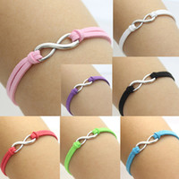Wholesale Infinity Eternity Love Leather Bracelet Adjustable Friendship Wish chain bracelet