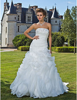 Wholesale Ruffle Strapless Mermaid White Ivory Taffeta Bride Bridal Wedding Dress T708