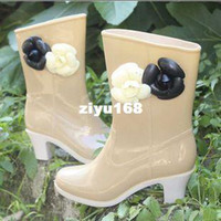 Wholesale Spring And Autumn Knee high Women s High heeled Boots Rainboots Camellia High heeled Rain Shoes