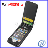 Leather For Apple iPhone  For iphone 5 5G Flip Leather Cases with Credit Card Slots Wallet Case Black
