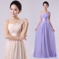 Wholesale Classic Long Wedding Bridesmaid Prom Ball Evening Chiffon Dress One Shoulder Formal colors U Pick