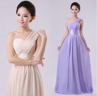 Model Pictures classic wedding dress - Classic Long Wedding Bridesmaid Prom Ball Evening Chiffon Dress One Shoulder Formal colors U Pick