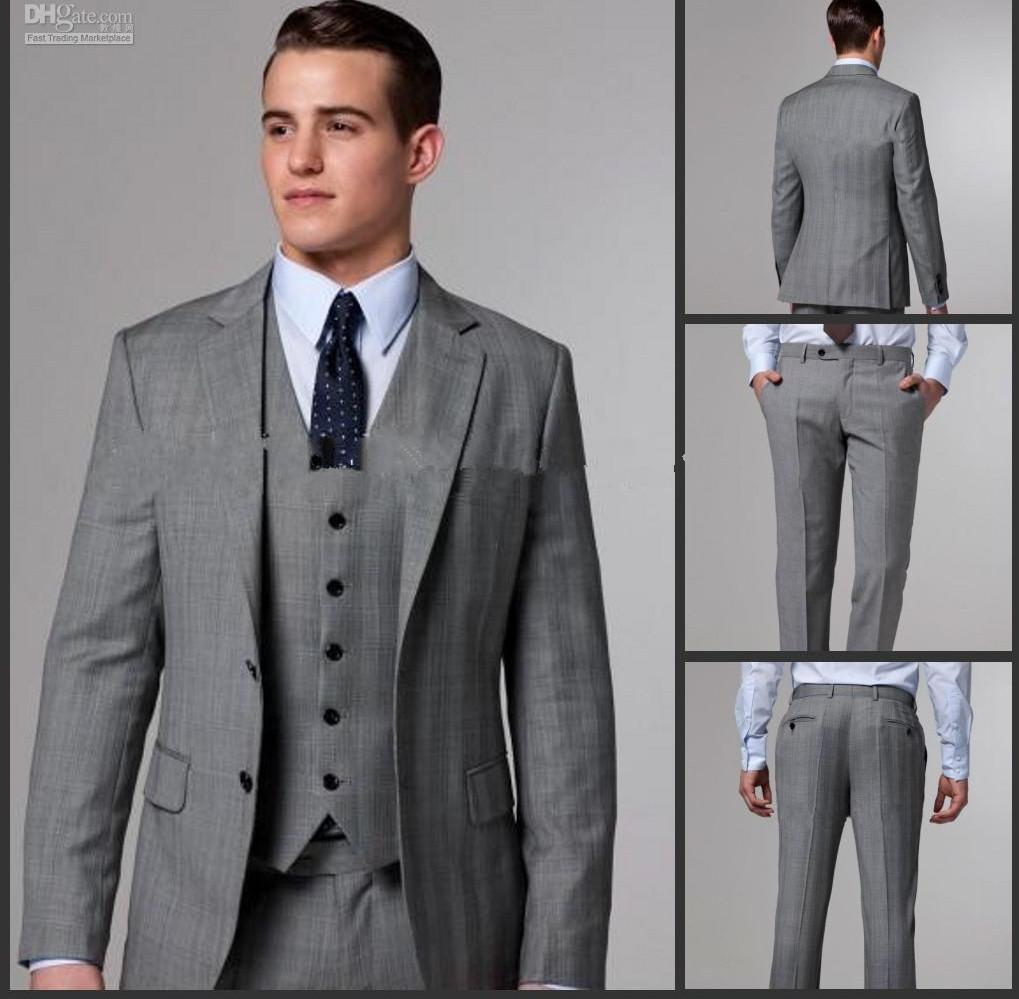 New Mens Suits Grey Side Slit Groom Tuxedos Notch Lapel Groomsmen ...
