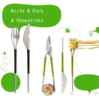 Plastic ECO Friendly  Wholesale- Multi-function Knife Fork Chopsticks Set Tableware freeshipping