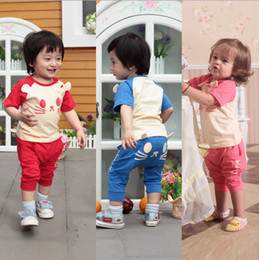 Wholesale 0 Year Summer baby outfits clothes sets lovly cat modelling short t shirt pants kids suits