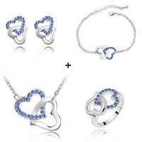 Wholesale holiday sale Valentine White Gold Plated Jewelry Heart Crystal Jewelry Set Fit For eve