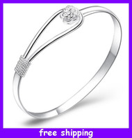 Wholesale The flower of fashionable romance Bracelets Cuff Bangles Silver