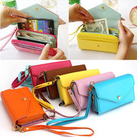 Wholesale 7 color Womens Envelope Clutch Wallet Lady Purse HandBag PU Leather Card Bag