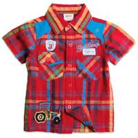 Wholesale C2751 Nova brand red European style summer children boy embroidery woven short sleeve check shirt