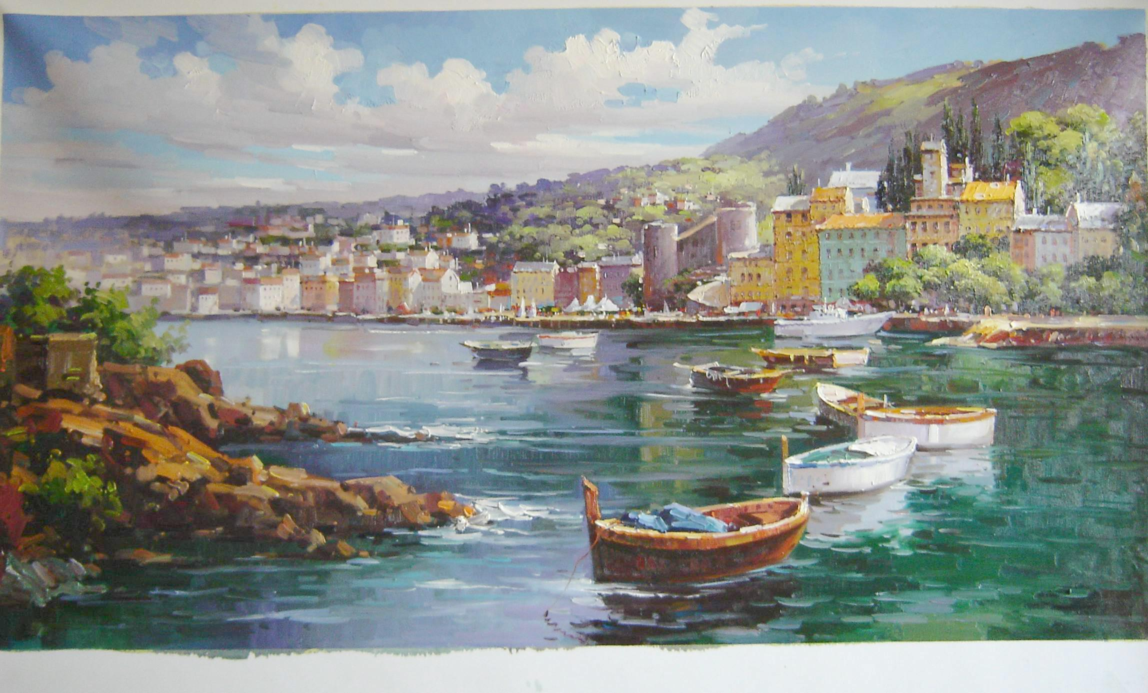Oil Canvas Art Impression Landscape Oil Painting Boat Drift