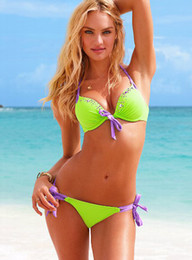 Wholesale New Neon Green Color Sexy Swimmers Women handcraft Beads Swimwear Padded Buckle Strappy Bikini Set Have Two Padded XS S M