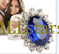 Wholesale Jewelry Gift for Women Wedding Engagement Accessory Platinum Plated Princess Kate Zircon Rings D