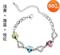 Bracelets austrian holidays - Holiday sale Multi Colors white gold plated austrian crystal heart bracelet jewelry kb006