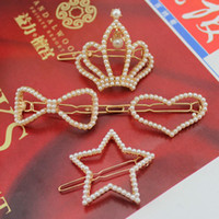 Women's Party Alloy Fashion Hairpins Heart Tiara Star Bowknot Pearl Barrettes Handmade Clips Mixed Lot Hair Accessories HJ019