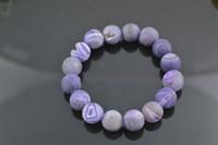 Wholesale Purple Drusy Geode Agate Bracelet mm Round Beads Fashion Jewerly pc