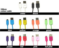 For Samsung   wholesale-200pcs lot 10 color 1M micro usb data snyc charger cable for android Samsung HTCphone