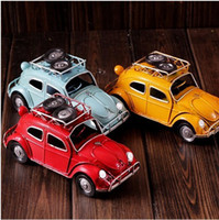 Wholesale Retro Volkswagen VW Beetle Bug Car Vintage with Tire Diecast Cars Model Vehicle home decor