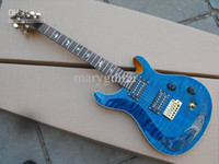 Wholesale Solid wood metal blue electric guitar for rock music