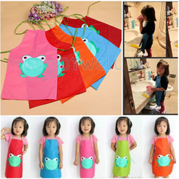 Wholesale Cute Kids Children Waterproof Apron Cartoon Frog Printed Child Painting Cooking