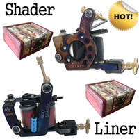 Wholesale Hot Handmade Tattoo Machine Gun Shader Liner Free Wooden Boxes T4