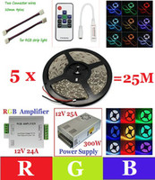 SMD 5050 Yes 60 pcs/m 25M(5x5M) Waterproof 5050 RGB Led Light Strip+RF Controller+12V 25A Power Supply+RGB Amplifier+Cable