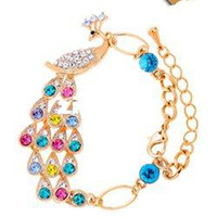 Wholesale Luxury Peacock design gold plated Austrain crystal bracelet fashion jewelry kb0013