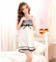 Wholesale New Women Nightdress Ice Silk Pajamas Lace Two piece Cute Princess Nightgown Sleepwear set