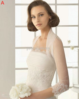 Wholesale Charming Wedding Jacket Bridal Wedding Bolero Shawl Lace Organza Long Sleeves
