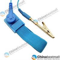 Wholesale NEW Anti Static Antistatic ESD Adjustable Wrist Strap Band Grounding electrostatic belt Blue