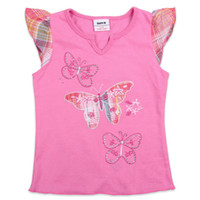 Wholesale K2639 Nova hot pink new arrival summer ready made baby girl cotton butterfly embroidered t shirt