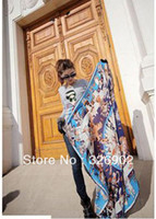 Printed Square Plain 2013 Zhang Ziyi Star Silk twill satin Painting Collection Hand Rolled Edges 140 large Square Scarf