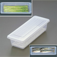 1 food storage container - Drain Crisper Transparent Food Container Fish Containers Refrigerator Storage Boxes Organization
