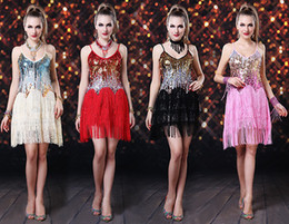 Wholesale 2013 paillette pole dancing dress Tassel Latin Dance dresses Performance Clothing stage Belly dress