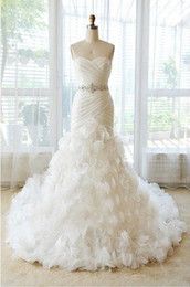 Wholesale New White Strapless Mermaid Wedding Dresses Sash Lace Up Summer Beach Sweetheart Bridal Gown DH4337