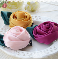 Wholesale 2013 Gymboree Stereo Girls Rose Bloom Hairpin Hair Clips Wedding Ceremony Accessories