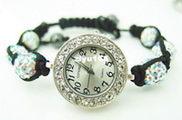 Wholesale shamballa bracelet watch women ladies fashion shamball crystal bead quartz wrist women wat
