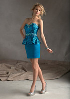 Wholesale 2013 Hot Sale Chiffon Lace Strapless A Line Beads Mini Cocktail Dress A2
