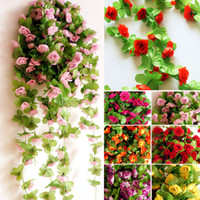 Wholesale Artificial flowers roses green leafy vines rattan vines decorative plastic rattan string