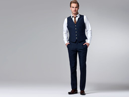 Wholesale Custom Made to Measure Tailored men s BESPOKE suit dark blue men wedding suit men tuxedo Jacket Pants Vest Tie Pocket Square
