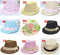 Boy baby fedora hats - 20pcs Kids Straw Fedora Hat Baby Summer Straw Cowboy Hat Boys Girls Straw Fedoras Baby Strawhat