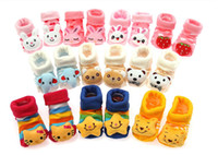 Wholesale Lovely Newborn Anti slip Floor Socks baby Fashion cotton socks lovely booties infant slipper socks