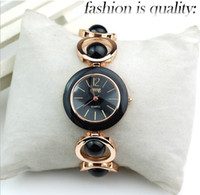 Wholesale Elegant Women Ladies White Black Rose Gold Fashion Bracelet Watch Beads Strap Stainless Wristwatch