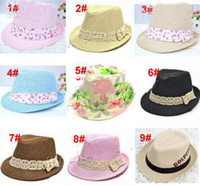 Boy cowboy hats kids - 30pcs Mix Styles Fashion Children Hat Dicers Baby Straw Hats Cowboy Hat Kids Fedoras Baby Strawhat