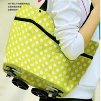Wholesale Oxford fabric folding dual tug package fashion eco friendly shopping cart shopping bag with roller